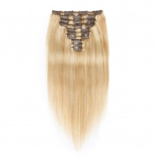 10pcs Straight Clip In Remy Hair Extensions #27/613