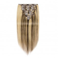 10pcs Straight Clip In Remy Hair Extensions #4/27