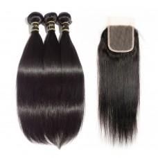 3 Bundles Straight 7A Brazilian Virgin Hair 300g With 4*4 Straight Free Part Closure