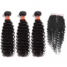 3 Bundles Deep Curly Malaysian Virgin Hair 300g With 4*4 Deep Curly Middle Part Closure