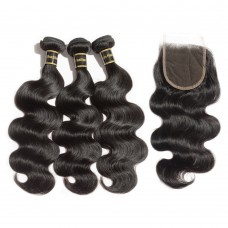 3 Bundles Body Wavy 7A Brazilian Virgin Hair 300g With 4*4 Body Wavy Free Part Closure