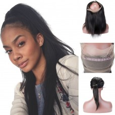 10-20 Inch Straight 7A Brazilian Virgin Hair 360 Lace Frontal Band 22*4*2
