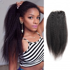 10-20 Inch Virgin Brazlian Hair Kinky Straight 4*4 Free Part Lace Top Closure
