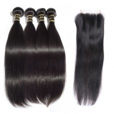 4 Bundles Straight Brazilian Virgin Hair 400g With 4*4 Straight Three Part Closure