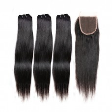 3 Bundles Straight Brazilian Virgin Hair 180g With 4*4 Straight Free Part Lace Closure
