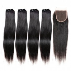 4 Bundles Straight Brazilian Virgin Hair 240g With 4*4 Straight Free Part Closure