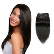 200g 22 Inch #1 Jet Black Straight Clip In Hair
