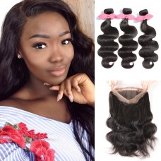 360 Lace Frontal Band with 3 Bundles Body Wavy 7A Brazilian Virgin Hair