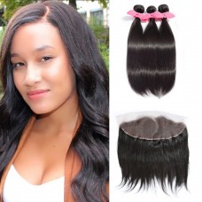 3 Bundles Straight Brazilian Virgin Hair 300g With Pre Plucked Left Side C Part 13x4 Lace Frontal