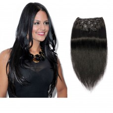 160g 20 Inch #1 Jet Black Straight Clip In Hair