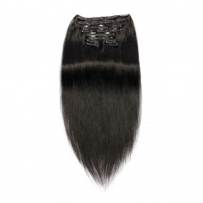 220g 24 Inch #1 Jet Black Straight Clip In Hair