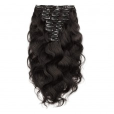 160g 20 Inch #1B Natural Black Body Wavy Clip In Hair