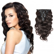 120g 18 Inch #2 Darkest Brown Body Wavy Clip In Hair