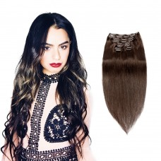 120g 18 Inch #2 Darkest Brown Straight Clip In Hair