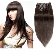 160g 20 Inch #2 Darkest Brown Straight Clip In Hair