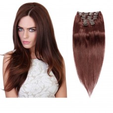160g 20 Inch #33 Rich Copper Red Straight Clip In Hair