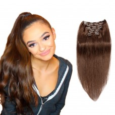 120g 18 Inch #4 Chocolate Brown Straight Clip In Hair