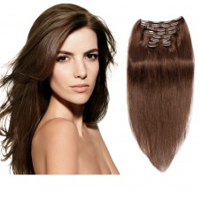 160g 20 Inch #4 Chocolate Brown Straight Clip In Hair
