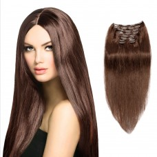 200g 22 Inch #4 Chocolate Brown Straight Clip In Hair