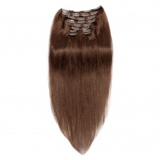 220g 24 Inch #4 Chocolate Brown Straight Clip In Hair