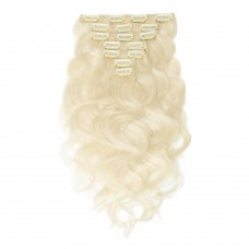 70g 16 Inch #60 Platium Blonde Body Wavy Clip In Hair