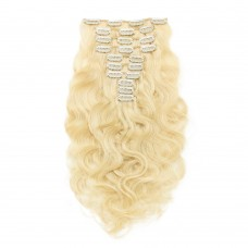 220g 24 Inch #613 Lightest Blonde Body Wavy Clip In Hair