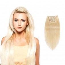 200g 22 Inch #613 Lightest Blonde Straight Clip In Hair