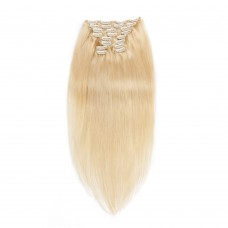220g 24 Inch #613 Lightest Blonde Straight Clip In Hair