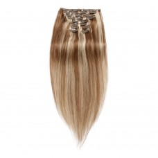 220g 24 Inch #8/613 Straight Clip In Hair