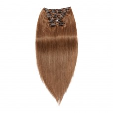 120g 18 Inch #8 Light Brown Straight Clip In Hair