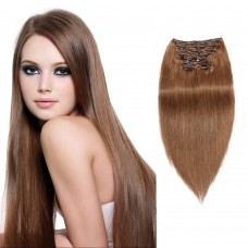 200g 22 Inch #8 Light Brown Straight Clip In Hair