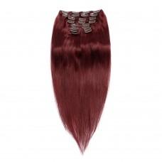 200g 22 Inch #99J Straight Clip In Hair