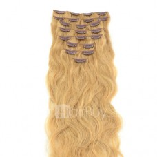 10pcs Body Wavy Clip In Remy Hair Extensions #27 Strawberry Blonde