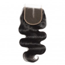 10-20 Inch Virgin Brazilian Hair Body Wavy 4*4 Hand Tied Middle Part Lace Top Closure