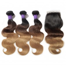 #1B/4/27 Ombre Hair Closure 1pcs With Brazilian Hair Weave 3pcs Body Wavy