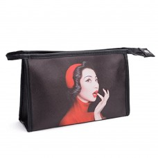 Cosmetic Bag Woman Portrait Pattern Toiletry Bag Black