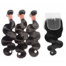 3 Bundles Body Wavy Malaysian Virgin Hair 300g With 4*4 Body Wavy Free Part Closure