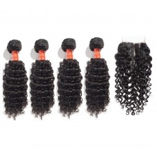 4 Bundles Deep Curly Malaysian Virgin Hair 400g With 4*4 Deep Curly Free Part Closure