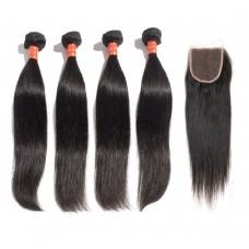 4 Bundles Straight Malaysian Virgin Hair 400g With 4*4 Straight Free Part Closure