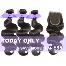 3 Bundles Body Wavy 7A Malaysian Virgin Hair 300g With 4*4 Free Part Lace Closure