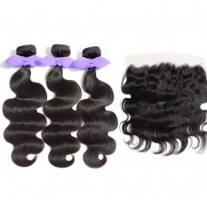 3 Bundles Body Wavy 7A Malaysian Virgin Hair 300g With 13*4 Free Part Lace Frontal