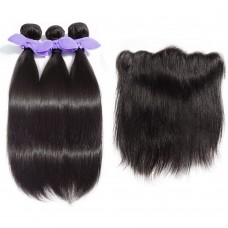 3 Bundles Straight 7A Malaysian Virgin Hair 300g With 13*4 Free Part Lace Frontal