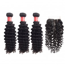 3 Bundles Deep Curly Malaysian Virgin Hair 300g With 4*4 Deep Curly Free Part Closure