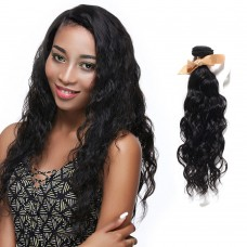 10 Inch - 30 Inch Virgin Brazilian Remy Hair Weft Natural Wavy Natural Black 100g
