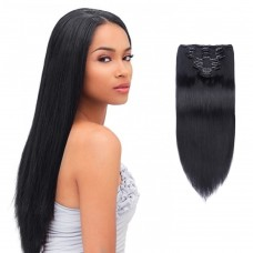 10pcs Straight Clip In Remy Hair Extensions #1 Jet Black