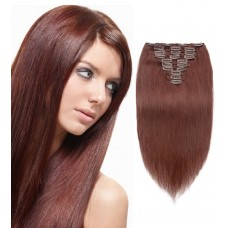 10pcs Straight Clip In Remy Hair Extensions #33 Rich Copper Red