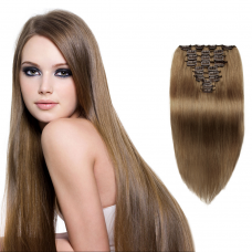 10pcs Straight Clip In Remy Hair Extensions #8 Light Brown