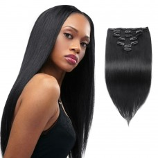7pcs Straight Clip In Remy Hair Extensions #1 Jet Black