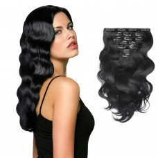 7pcs Body Wavy Clip In Remy Hair Extensions #1 Jet Black