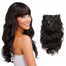 7pcs Body Wavy Clip In Remy Hair Extensions #1B Natural Black